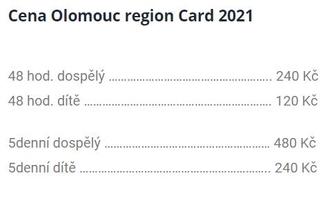 ceník olomouc region card 2021